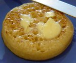 English crumpet with butter and dimples